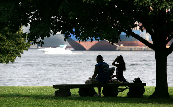 A couple enjoys the view from Fort McHenry