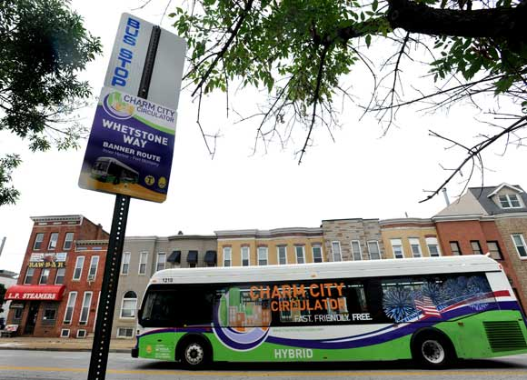 THE CHARM CITY CIRCULATOR ARRIVES AT L.P. STEAMERS