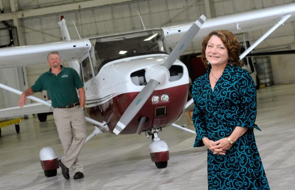 Air Fare America's Andrea Vernot and Middle River Aviation's Kevin Walsh