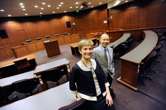Michelle Harner and Robert Rhee, co-directors of the business law program at the University of Maryland School of Law